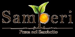"""Logo Samperi: la scritta samperi è in marrone scuro, la curva della """"p"""" in minuscolo è riempita da una tonda pesca arancione e sull'estrmità troviamo due foglioline verdi. Sotto il payoff recita """"Pesca nel sacchetto."""